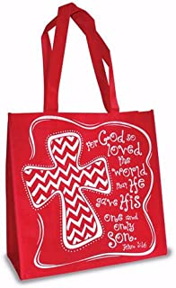 Divinity 12.5 X 6 X 12 Inspirational Eco Tote Reusable Shopping Bag (Red - Chevron Cross)