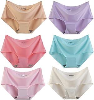 6条装 无痕内裤女冰丝一片式中腰女士性感舒适透气纯棉裆三角裤头