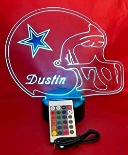 Dallas Cowboys NFL Light Up Lamp LED Personalized Free Football Light Up Light Lamp LED Table Lamp, Our Newest Feature - It's Wow, with Remote, 16 Color Options, Dimmer, Free Engraved, Great Gift