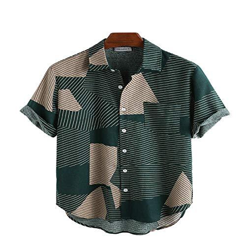 Camisa de Bloque de Color con Solapa con Muesca para Hombre Camisa de Manga Corta con Botones y Botones de Moda Retro con Bolsillos M