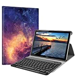 Fintie Bluetooth QWERTZ Tastatur Hülle für Huawei Mediapad M5 10.8/10.8 Pro - Ständer Schutzhülle mit Magnetisch Abnehmbarer Drahtloser Deutscher Bluetooth Tastatur für Huawei M5 10,8,Die Galaxie