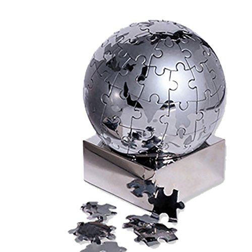 eBuyGB Magnetic Stainless Steel World 3D Puzzle Globe, Silver