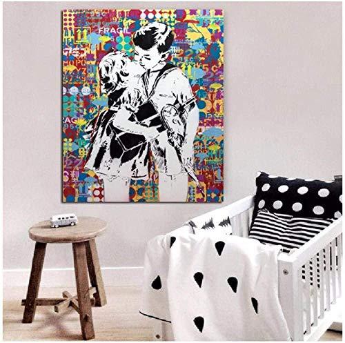 KBIASD Pintura Chico besando Graffiti Arte clásico Lienzo Pintura decoración de la habitación Cuadros artísticos de Pared para decoración del hogar-40x50 cm sin Marco
