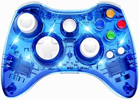 PAWHITS Wireless Controller Compatible with Xbox 360 Double Motor Vibration Wireless Gamepad Gaming Joypad, Blue