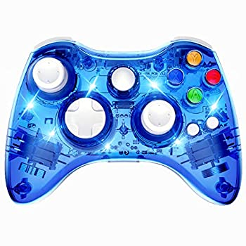 PAWHITS Wireless Controller Compatible with Xbox 360 Double Motor Vibration Wireless Gamepad Gaming Joypad Blue