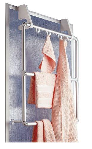 WENKO Handtuchhalter für Tür und Duschkabine Compact - mit 3 Querstangen und 4 Haken, Aluminium, 62.5 x 78 x 14.5 cm, Silber matt