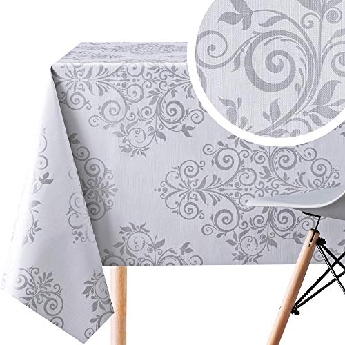 KP HOME Silver Grey Oriental Baroque PVC Wipe Clean Oilcloth Tablecloth - 200 x 140cm - Orient Design Embossed Thick Rectangular Easy Care Wipeable Vinyl Plastic Table Cloth
