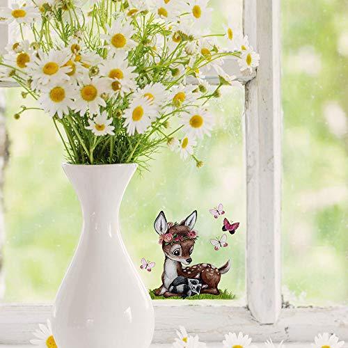 ilka parey wandtattoo-welt Mini-Fensterbilder Fensterbild Ostern Fuchs REH Hase Pusteblume wiederverwendbar Fensterdeko bf23mini - ausgewählte Farbe: *bunt* ausgewählte Größe: *10. REH mit Waschbär*
