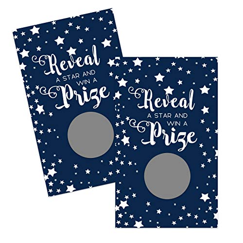 Blue Star Scratch Off Game Cards (28 Pack) Boys Baby Shower – Graduation – Wedding - Drawings - Raffle Prize Tickets - Holidays - Navy Party Supplies