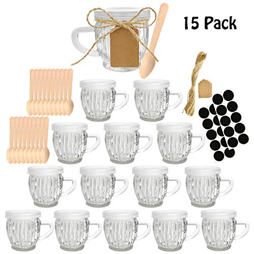 Syntic 15 Pcs 5 oz Glass Jars with with Handles and Lids, Small Mason Jars Yogurt Jars for Jam, Coffee, Spices, Gift Holder, Extra Chalkboard Labels, Tag String, 20 Disposable Wooden Spoons Included