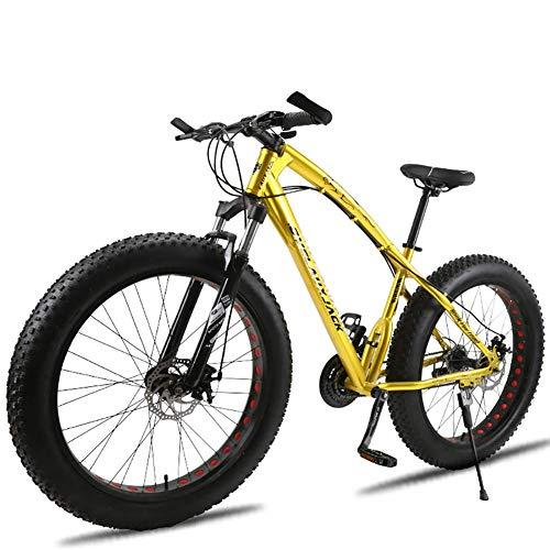 Unbekannt Mountainbike, 26-Zoll-Fat Tire Straßen-Fahrrad Schnee Bike Beach Bike High-Carbon Stahlrahmen, mit Scheibenbremsen und Federgabeln,Gold,24Speed