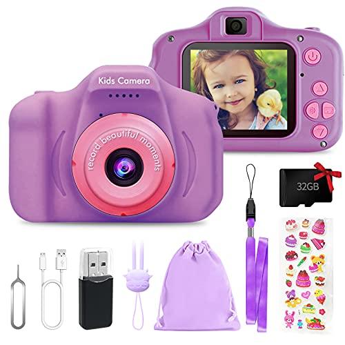 Cámara de fotos digital para niños y niñas, cámara de vídeo HD 1080P, para todos los pequeños, juguetes de cámara para regalo de cumpleaños, para 3, 4, 5, 6, 7, 8 años (morado)
