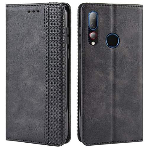 HualuBro Handyhülle für HTC Desire 19 Plus Hülle, Retro Leder Brieftasche Tasche Schutzhülle Handytasche LederHülle Flip Hülle Cover für HTC Desire 19+ Plus 2019 - Schwarz