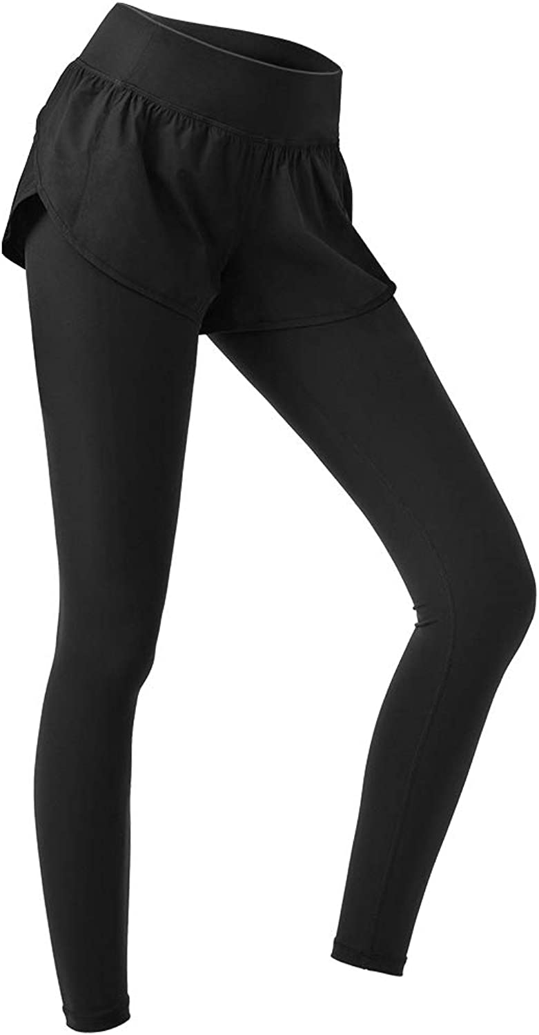 Thin and Fake TwoPiece Sports Pants Women  Tight Stretch BlackHigh Rise Yoga Pants