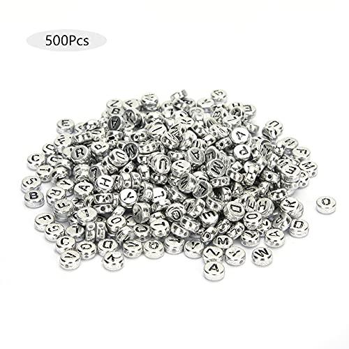 Cuentas de acrílico del alfabeto A-Z, 500 piezas Durabilidad Letra encantadora creativa Perlas espaciadoras sueltas Llaveros para ropa Pulseras Fabricación de joyas(Silver)
