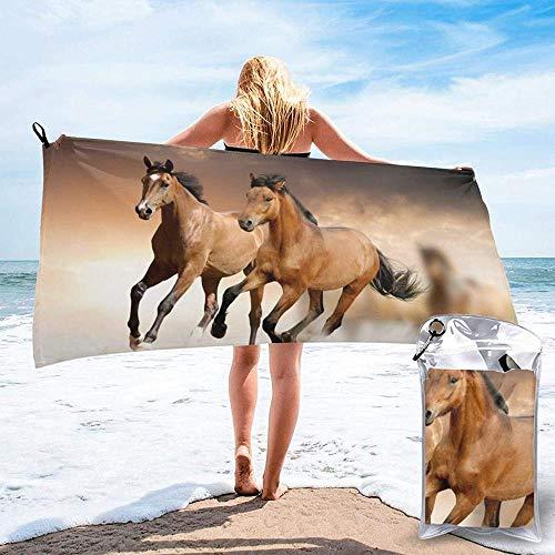 Toalla De Playa De Secado Rápido Correr Caballo Impreso Microfibra Ligero Toallas De Baño Adecuado para El Hogar Niños Y Adultos Camping Natación Yoga-31.5'X63'