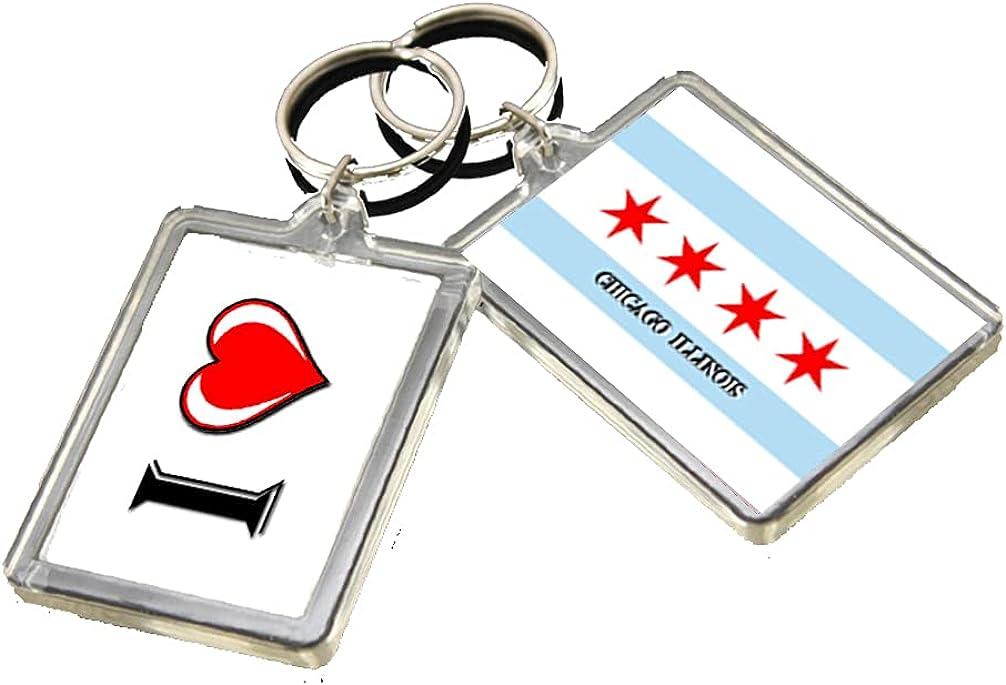 A046 CHICAGO FLAG KEYRING I HEART CITY OF USA KEYCHAIN