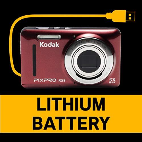 Kodak PIXPRO FZ53 Cámara compacta 16MP 1/2.3' CMOS 4608 x 3456Pixeles Rojo - Cámara Digital (16 MP, 4608 x 3456 Pixeles, CMOS, 5X, Grabación de vídeo, Rojo)