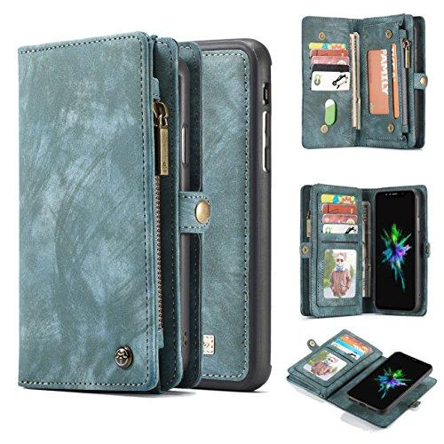 iPhone 8 Plus Wallet Case,AKHVRS Handmade Premium Cowhide Leather Wallet Case,Zipper Wallet Case [Magnetic Closure]Detachable Magnetic Case & Card Slots for iPhone 7 Plus & iPhone 8 Plus - Blue