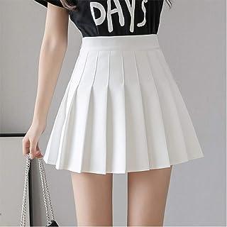Women Girls Short High Waist Pleated Skater Tennis School Skirt (Color : White, Size : L)