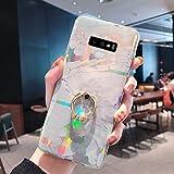 Uposao Compatibile con Samsung Galaxy Note 9 Custodia Bling Glitter Morbida Silicone Marmo Case con Bling Strass Anello Supporto Ultra Slim Trasparente TPU Bumper Protettiva Cover,Bianco Oro