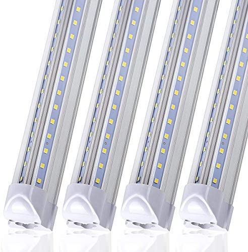10 Pack LED Shop Light Fixture 8FT T8 90W 11000LM 6000K Cold White V Shape Clear Cover Hight product image