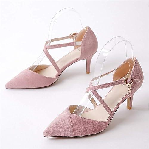 VIVIOO Chaussures pour Femmes Talons Pointus Chaussures de Mode Doux Rose Simple Boucle Chaussures de Mariage