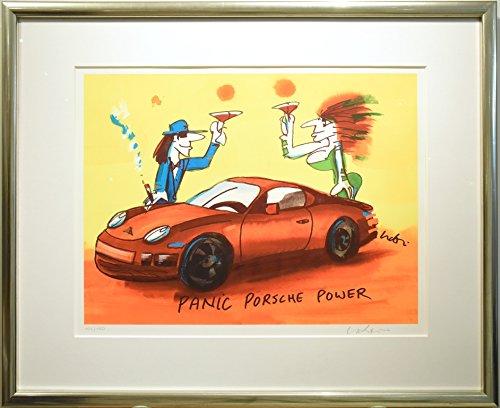 Kunstverlag Christoph Falk - Panic Porsche Power - UDO Lindenberg Bild - handsignierte Auflage original Grafik im silberfarbenem Rahmen hinter Museumsglas. Likörell. Siebdruck.