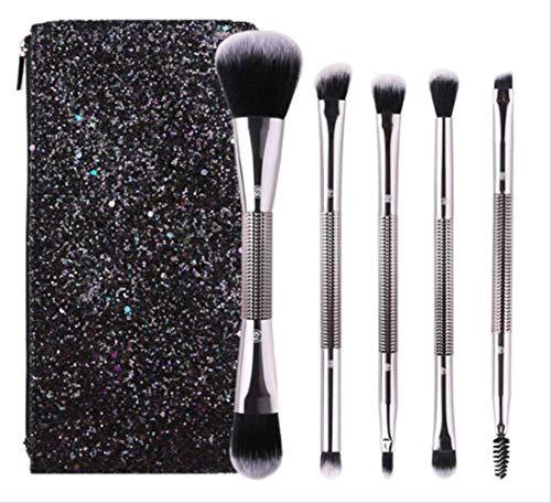Set De Maquillage Brosse 5 Pièces Design Double Tête + Poignée De Motif De Diamant Argent Brillant Avec Sac À Cosmétiques A-003