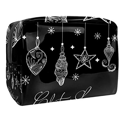 Neceser de Maquillaje Estuche Escolar para Cosméticos Bolsa de Aseo Grande Lámpara de Navidad Dibujada a Mano