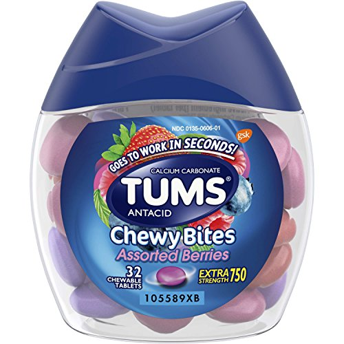 TUMS Chewy Bites Antacid Tablets for Chewable Heartburn Relief and Acid Indigestion Relief, Assorted Berries - 32 Count