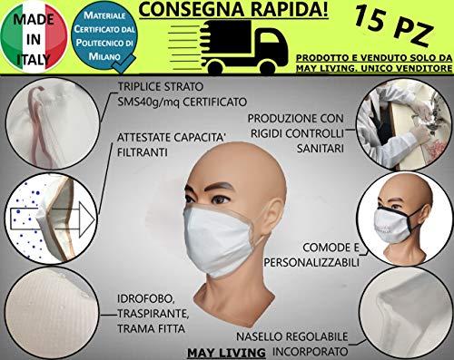 15pz Copri Bocca e Naso Lavabili MADE IN ITALY in Triplice Strato TNT SMS40g/mq Certificato dal Politecnico di Milano - Idrofobo, Trama Fitta, Traspirante, Elevate Capacità Filtranti - Mod. M03