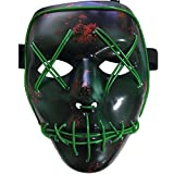 Frightening Wire Halloween Cosplay LED Light up Mask for Festival Parties, Green