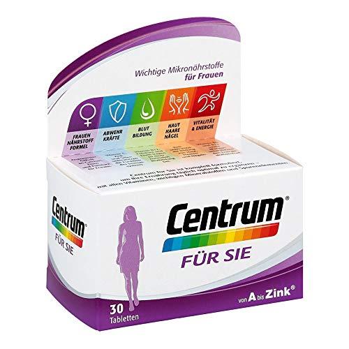 Centrum Für Sie – Hochwertiges Nahrungsergänzungsmittel mit Mikronährstoffen – Speziell für Frauen – Vitamine, Mineralstoffe, Spurenelemente – 1 x 30 Tabletten
