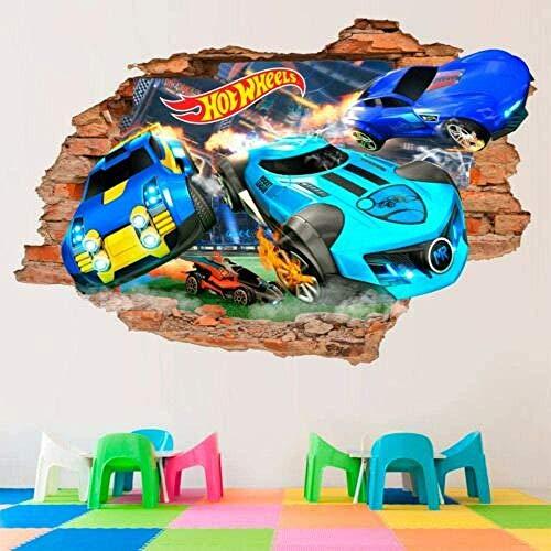 QULIN 3D Look Wandtattoo Hot Wheels 3D Wandtattoos Toy Wandaufkleber Autos Abnehmbare Vinylaufkleber