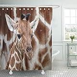 QDYLM シャワーカーテンアフリカの白い子牛キリン赤ちゃんアフリカ動物美しいCamelopardalisシャワーカーテンセット12フック付き60 x 72インチ防水ポリエステル生地
