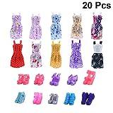 SUPVOX Vestido y Zapatos para Barbie Ropa de Muñeca Tacón Alto para Barbie de 29 cm Muñeca Regalo de Niña Sin Muñeca (Patrón Aleatorio) 20 Unidades