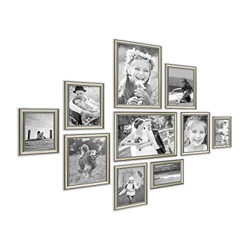 PHOTOLINI 10er Bilderrahmen-Collage Silber Barock Antik aus Kunststoff inklusive...