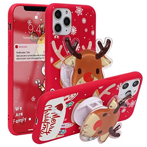 Pnakqil Funda para Apple iPhone 12/12 Pro 6,1' Soporte Plegable Navidad Funda Rojo Case Silicona con Dibujos...