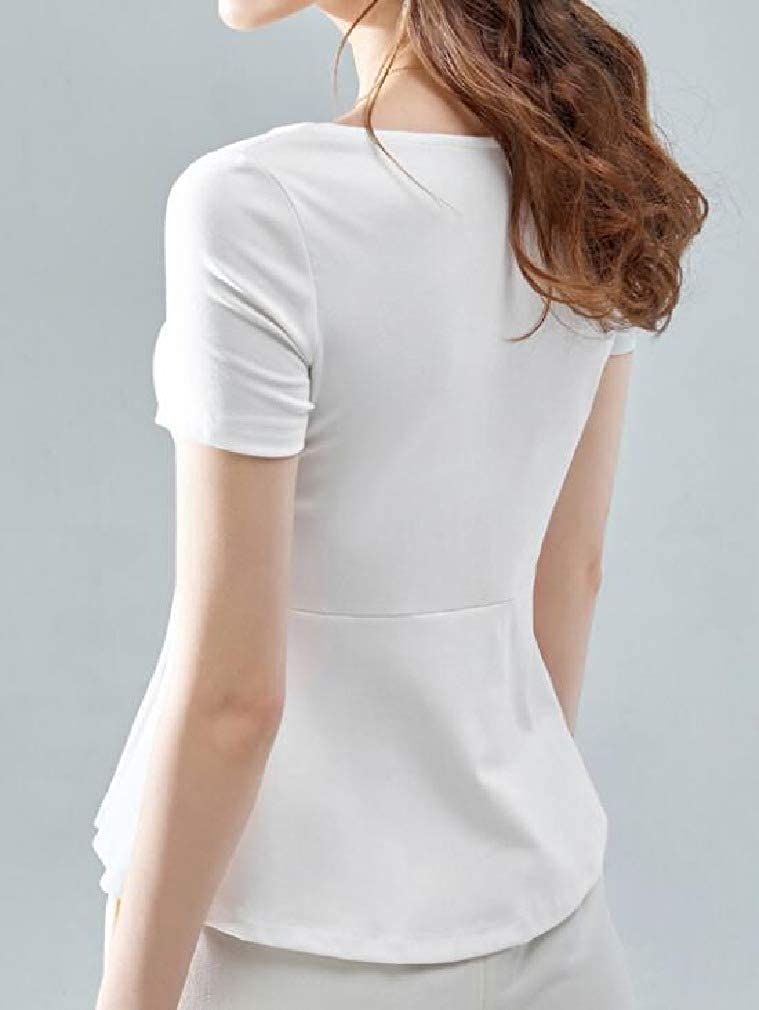 SELX Women Fashion Square Neck Short Sleeve Solid Ruffle Hem Slim Fit Shirts