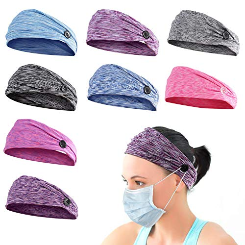 8pcs Button Headbands Set- Non Slip Elastic Headbands with Button in 8 Colors Hair Accessories for Women Men Moisture Wicking Sweatband Sports Head Wrap for Yoga Sports Outdoor Activities