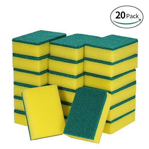 Magiin 20 Stück Mehrzweck Putzschwamm Spülschwamm Küchenschwamm Zweiseitig Reinigungsschwamm Fleckenentferner Pad Schwämme Wäscher Bürste für Küche (Rechteckig)