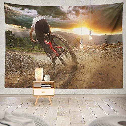 Duanrest Wandteppich,Man Mountainbike Trail STO-rmy Sonnenuntergang Bike Mountain Trail Fahrrad Rennrad Biker Wandteppich für zu Hause 229x152cm