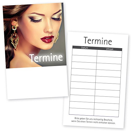 500 Kosmetikstudio-Friseur-Terminkarten HAIR & BEAUTY mit 5 Terminfeldern und Stempelfläche auf der Rückseite