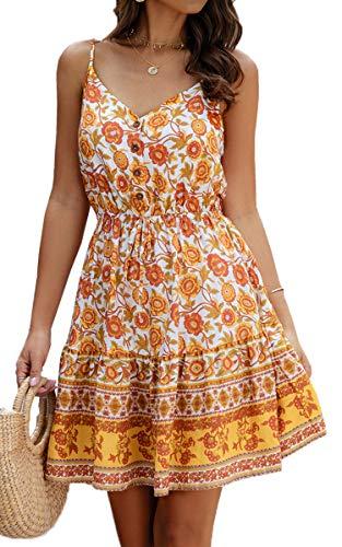 Spec4Y Damen Kleider Kurz Blumen Sommerkleid Swing V Ausschnitt Ärmellos Minikleid A Linie Skatekleid 193Gelb Small