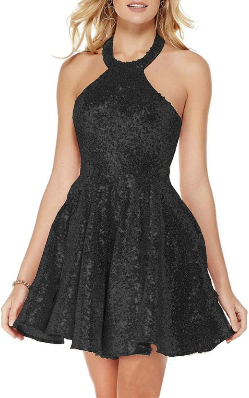EverBeauty Womens Short Sequin Halter Homecoming Dress Sleeveless Prom Party Dress