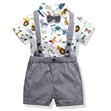 SeClovers Baby Tuxedo Outfits|Gentleman Bowtie Romper Suspender Shorts Set, Toddler Boys Formal Suit 12-18 Months
