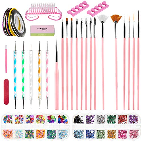 ZWOOS Nail Art Design Set Decorazioni Unghie Nail Art Tool Kit Manicure Pennelli Nail Art Design Kit Nail Art, 38 pz