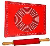 Teigroller mit Backmatte Silikon Groß Rot | Antihaft - BPA frei | Hitzebeständig | Nudelholz 40cm...