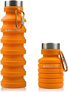 Q Four Fit Sports Collapsible Water Bottle 100% BPA Free Non-Toxic Platinum Silicone with Cleaning Sponge
